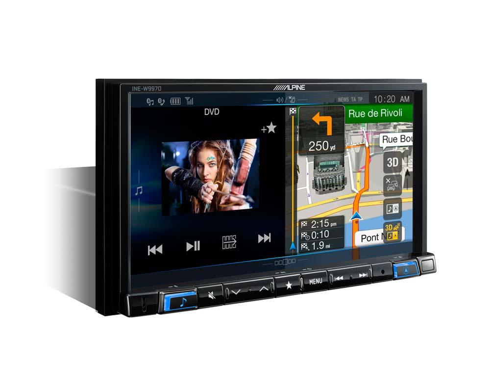 01 navigation unit with dvd ine w997d blue illumination