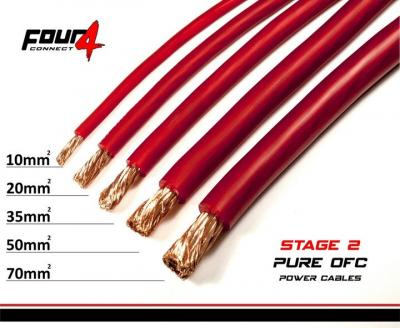 4CONNECT STAGE2 10mm2 power cable satin rouge OFC  100% cuivre