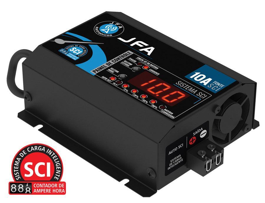 Carregador de bateria fonte automotiva 10 amperes slim jfa2020